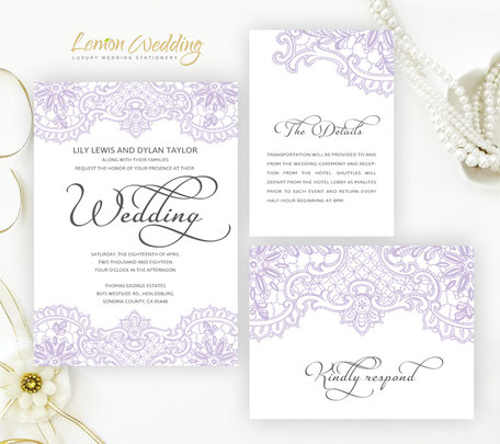 Lilac wedding invitation kits