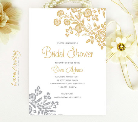 Gold Ans Silver Bridal Shower Invitations