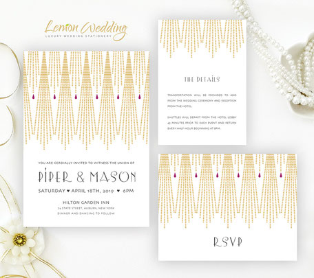 gatsby wedding invitation sets