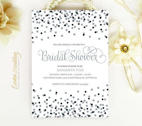 Silver Wedding Shower Invitations