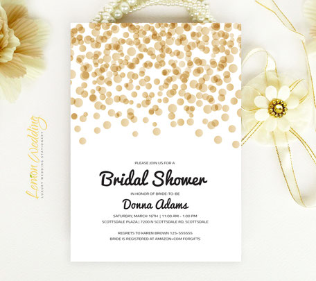 Gold Confetti Bridal Shower Invitations