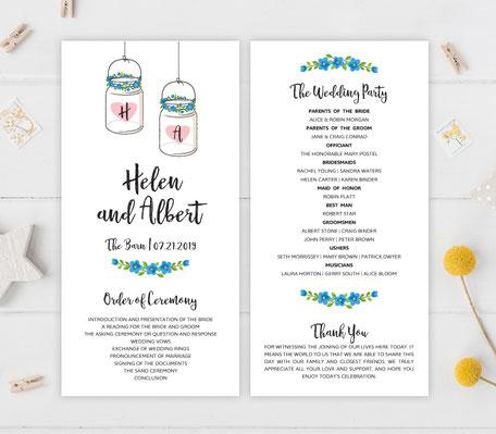 Mason Jar Themed Wedding Programs