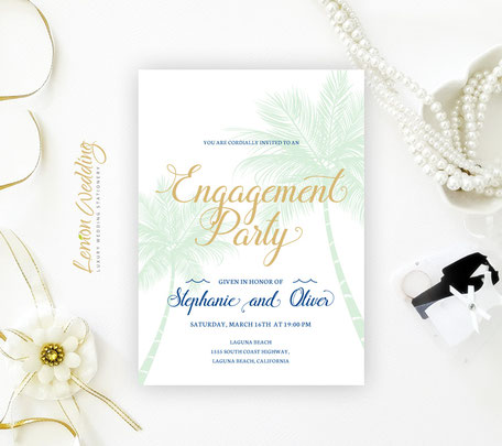 Palm Tree Engagement Invitation