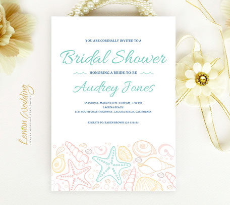 Beach Wedding Shower Invitations