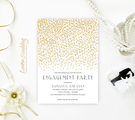 Gold Engagement Party Invites