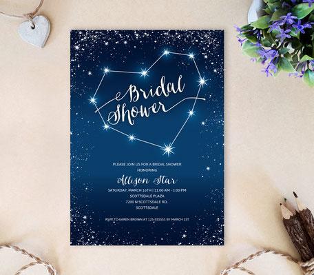 Starry Night Wedding Shower Invitations
