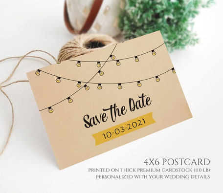 String Light Save the Date Postcards