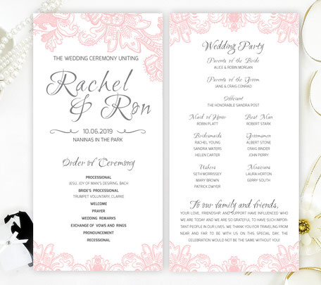 Pink Lace  Wedding Programs