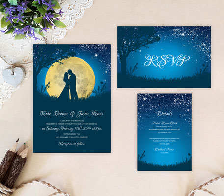 moon night wedding invitations