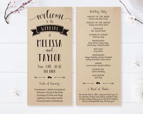Kraft Wedding Programs