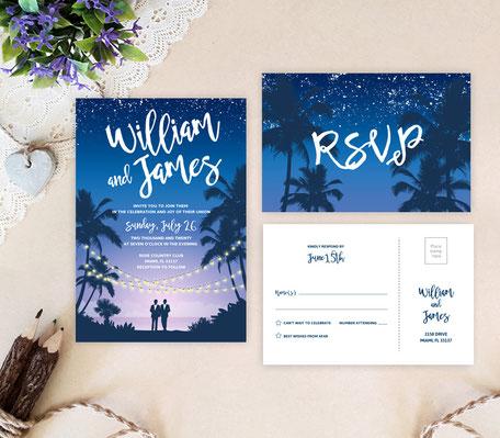 Hawaii Gay Wedding Invitations