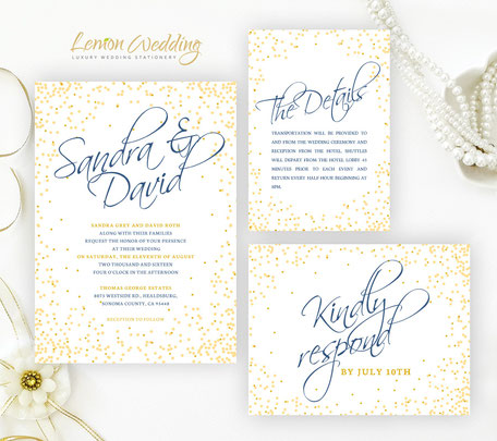 gold confetti wedding invitations