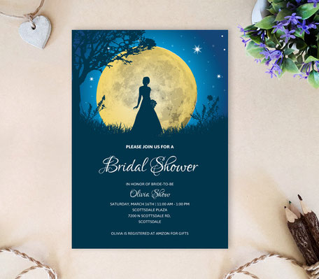 Moon Wedding Shower Invitations