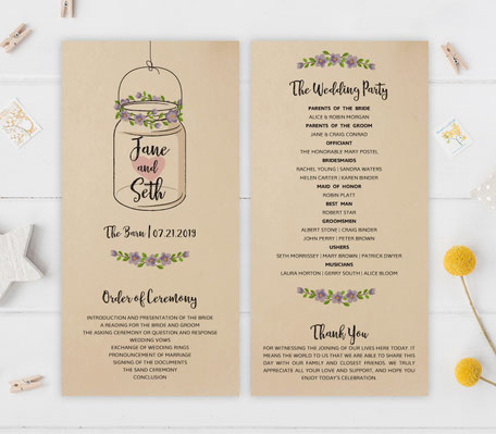 Mason Jar Themed Wedding Programs