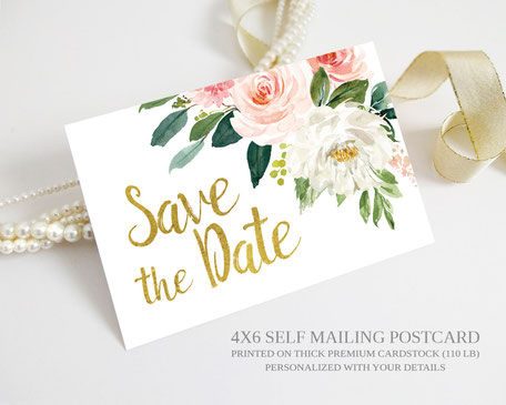 Floral Wedding Save the Date Postcards