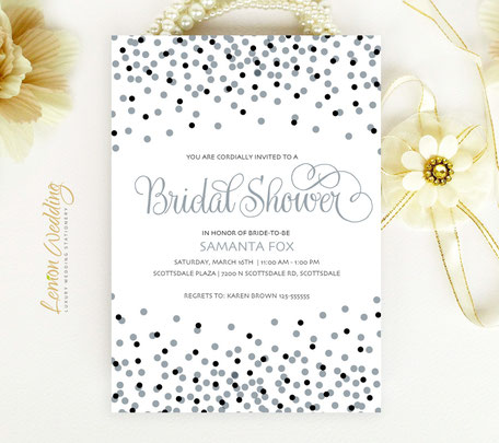 Silver Confetti Bridal Shower Invitations