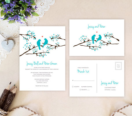Lone bird wedding invitations