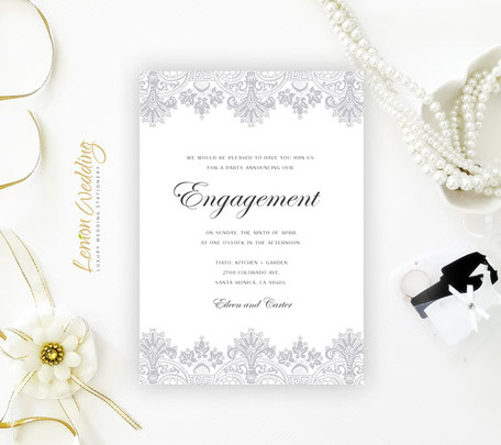 Silver Engagement Invitation