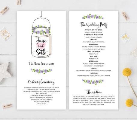 Mason Jar Wedding Programs