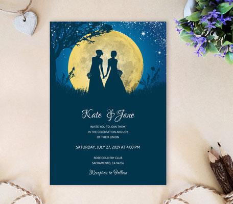 Moon Night Lesbian Wedding Invitation