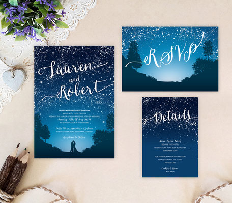 Starry night wedding invitation sets