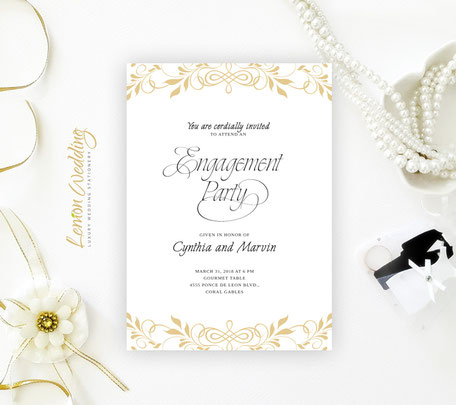 Elegant Engagement Party Invitations