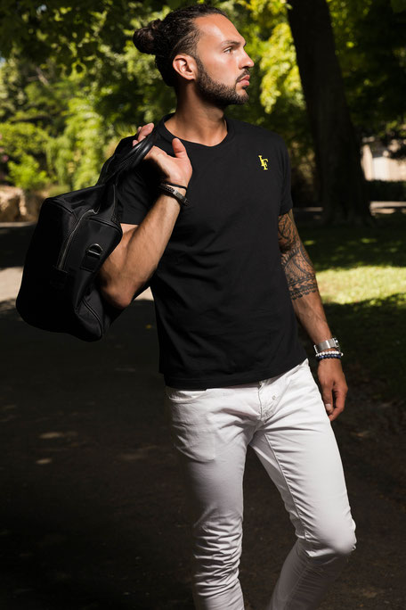 T shirt Initial Noir Homme Made in France 100% coton