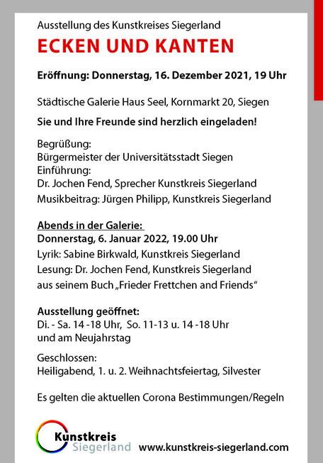 Kunstkreis Siegerland, Ausstellung FACES, Einladung