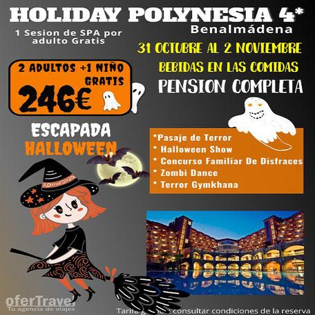 Holiday Polynesia Hotel 4* Situado en Benalmádena Costa en primera línea de la costa andaluza, a sólo 15 km. del aeropuerto de Málaga.
