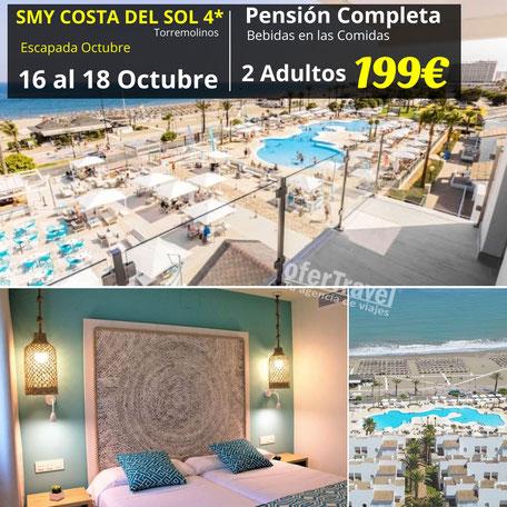 Hotel SMY Costa del Sol 4* Reformado está ubicado en el centro turístico de Torremolinos, separado por sólo una calle de la playa. A unos 3 kilómetros podrá encontrar numerosos comercios y lugares de ocio y entretenimiento.
