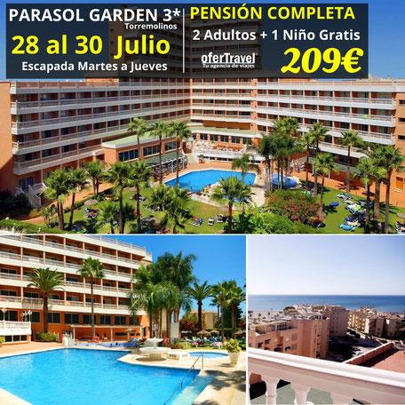 El hotel Parasol Garden se encuentra en el paseo marítimo de la localidad de Torremolinos, en Málaga. Ubicado a sólo 100 metros de la playa y de una parada de autobús, el casco urbano está a un kilómetro y el aeropuerto de la capital,
