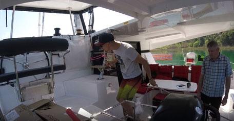 Winsch, Katamaran Segeln und Steuern lernen, Katamaran Lagoon 42, Katamaran Segelschule, Katamaran Wassersport, Katamarantraining, Katamatan Ausbildung, Katamaran Crew Ausbildung