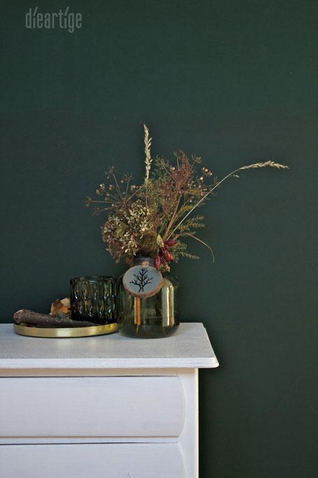 dieartigeBLOG - Tannengrün, Gold, Herbststrauß, Herbstdekoration, Grünes Glas