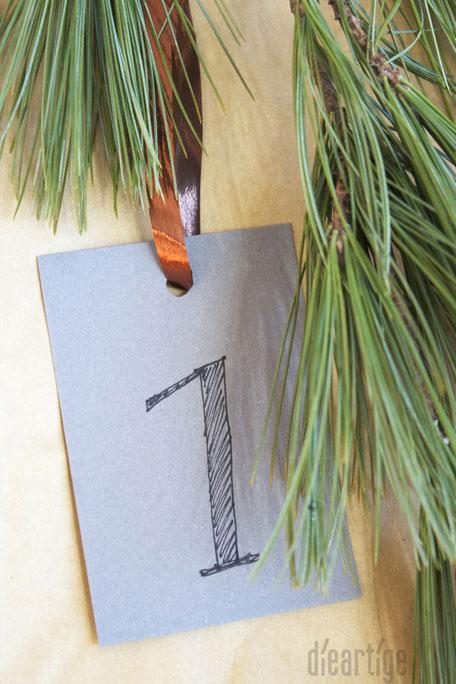 dieartigeBLOG - Handschriftliche Zahlen auf Grauen Papieranhängern