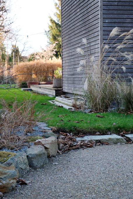 dieartigeGARTEN // Januar, Wintergarten - Chinaschilf + Japangras, Split, Brechsand