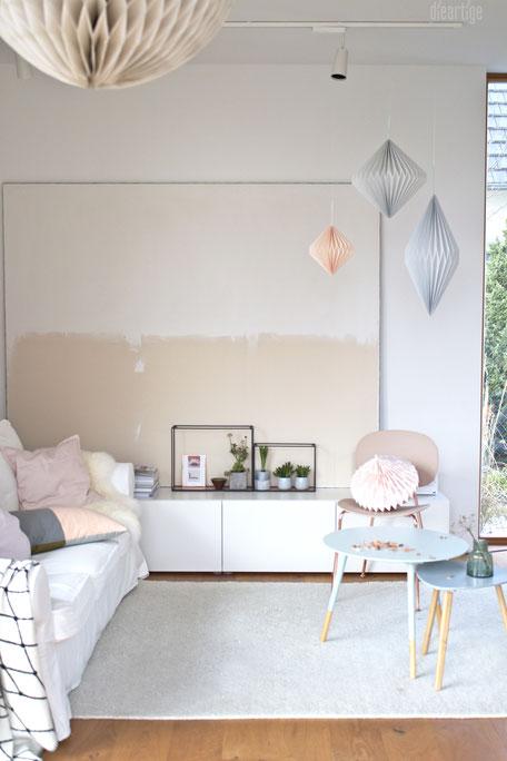 dieartigeBLOG - Ombre-Leinwand in Jute natur und Weiß, Papierdekoration, Frühlingsdeko mit Pastell, Rosè, Kupfer, Grau