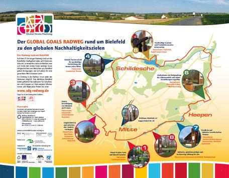 Tafel am Welthaus Bielefeld zum Global Goals Radweg