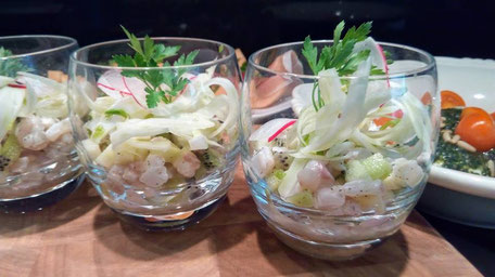 Tartare de daurade royale pomme-kiwi en verrine, Chef à domicile, chef à la maison, chef à domicile Grasse, Cours de cuisine à domicile, cours de cuisine Grasse, Chef Tristan Pontoizeau