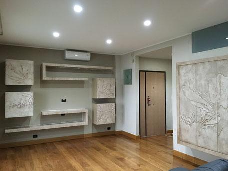 parete attrezzata su misura, arredo living personalizzato, decorazione living