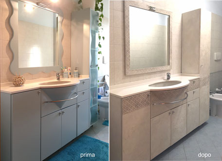 restyling mobile lavabo, restyling bagno, recupero mobile lavabo