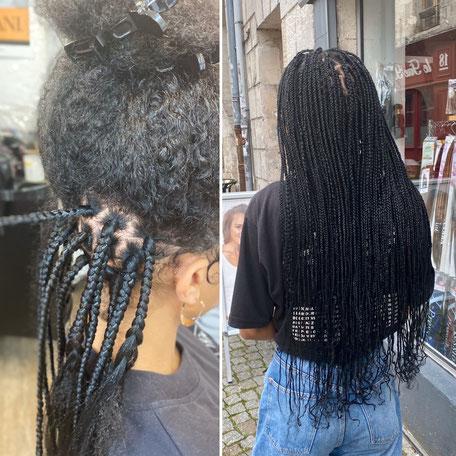 Tressage avant apres au salon de coiffure Cap Style
