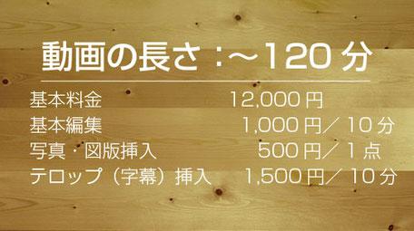 コース2:基本料金12,000円、基本編集1,000円/10分、写真・図版挿入500円/1点、テロップ挿入1,500円/10分