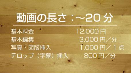 コース1:基本料金12,000円、基本編集3,000円、写真・図版挿入1,000円/1点、テロップ挿入800円/分
