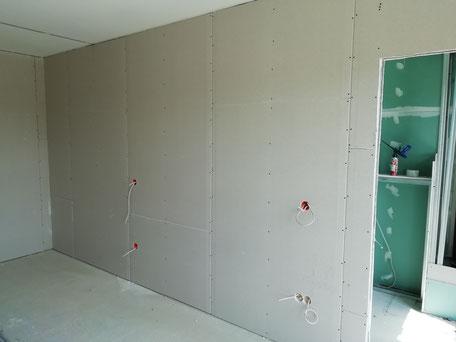 Zimmertrennwand mit Gipskarton beplankt