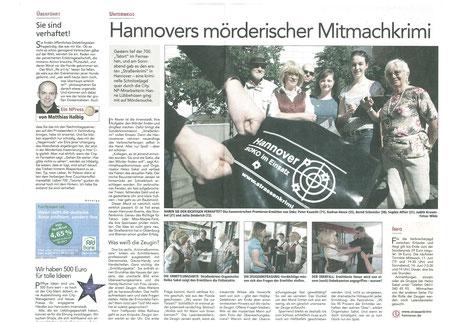 """Zeitungsbericht der Neue Presse City vom 26.05.2008: """"Hannovers mörderischer Mitmachkrimi""""- Quelle: Neue Presse Hannover"""