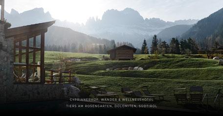 Hotelempfehlung: Cyprianerhof - Wellnesshotel & Wanderhotel in den Dolomiten - Rosengarten - Südtirol