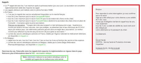 Listes des vaccins antirabiques reconnus par la legislation francaise