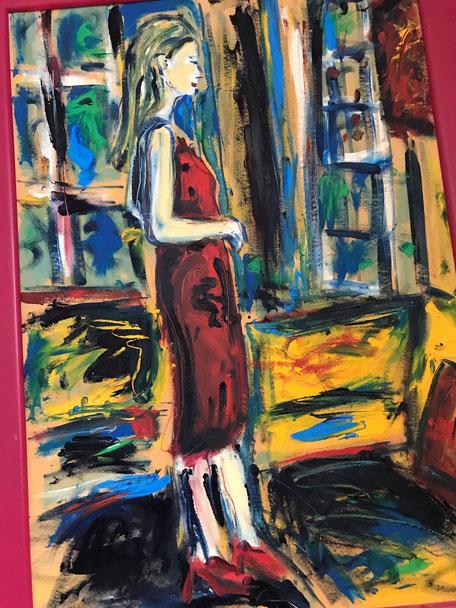 Lady in red/ Öl auf Karton/ ca. 70 cm x 100 cm