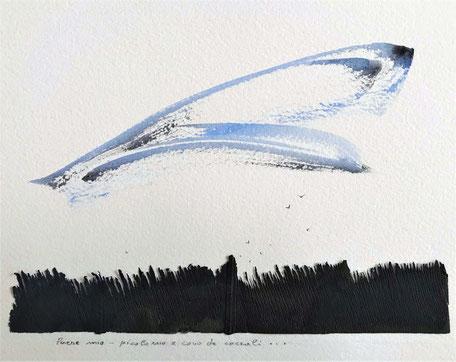 paese mio picolo nio e covo de corcali watercolor and zin on paper cm 17 x 21