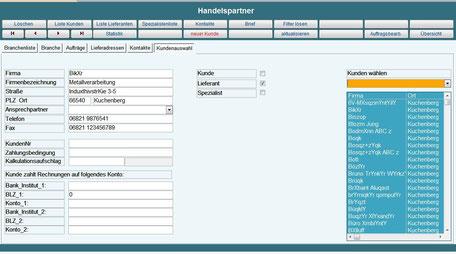 Kundendaten, Auftragsdaten, Betriebsdatenerfassung